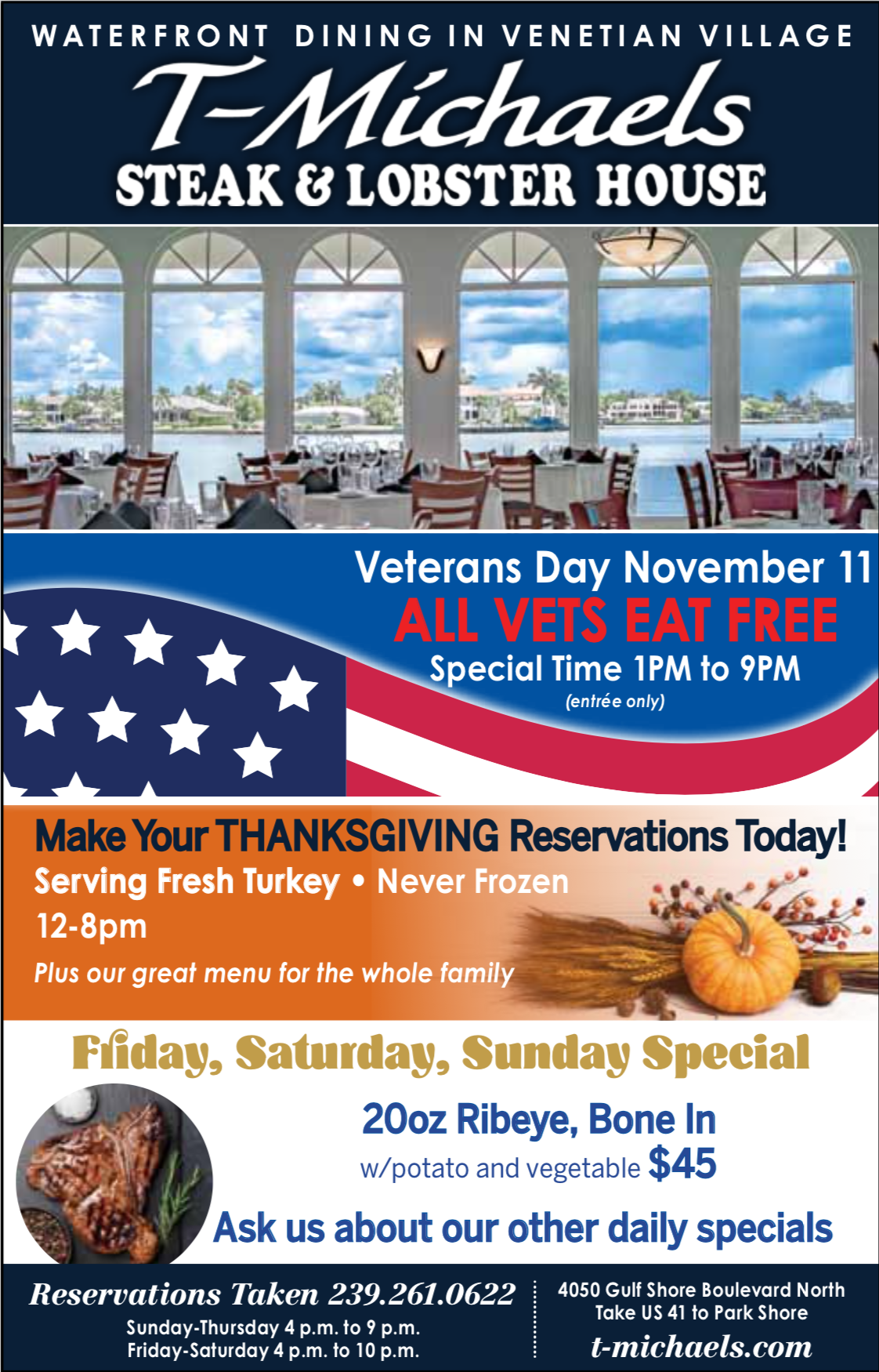 Veterans Day at T-Michaels Steak and Lobster House