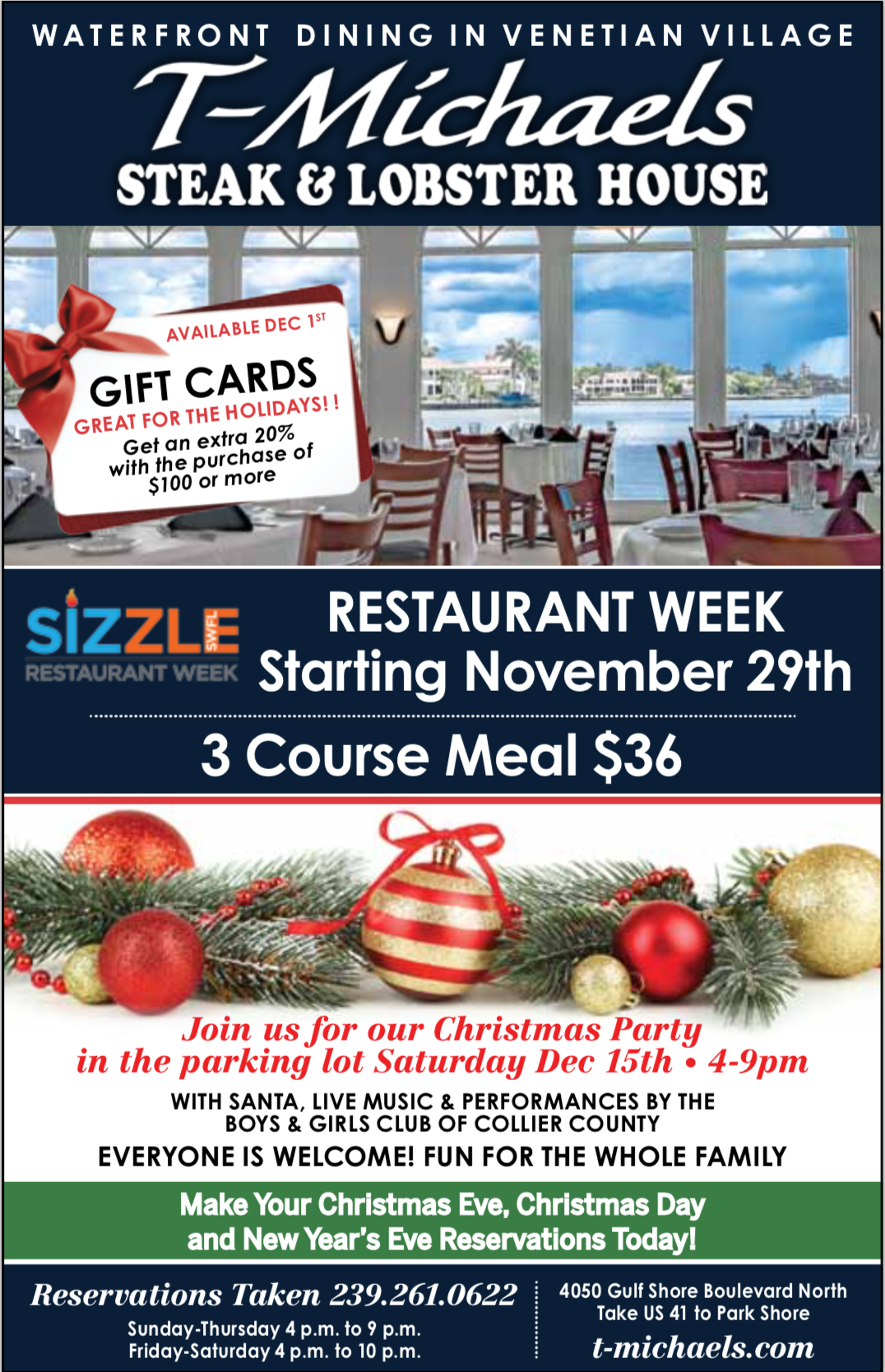 T-Michaels Steak & Lobster House Events