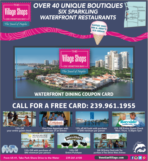 Waterfront Dining Coupon Card, Dining Discounts, Naples Dining Discounts, Naples Dining, Waterfront Dining, Dining at The Village Shops